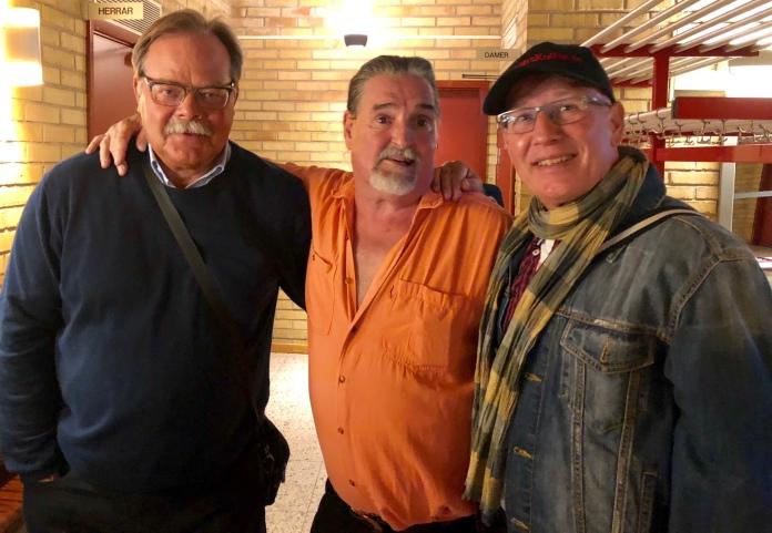 Lennart Hulth, Torben & Johnny Månsson. Två gamla fans med sin barndomsidol. Foto Johnny Månsson©