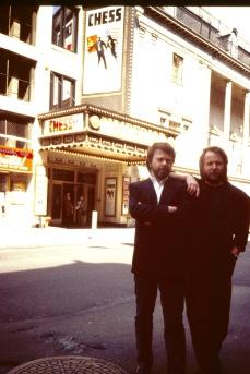Björn och Benny på presskonferens på Broadway, New York